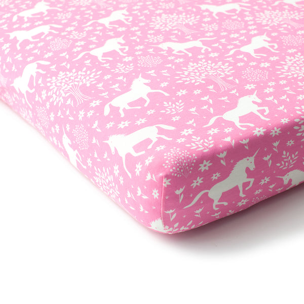 Fitted Crib Sheet - Magical Forest Pink