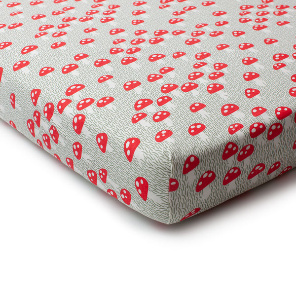 Fitted Crib Sheet - Mushrooms Sage