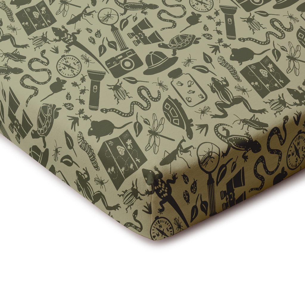 Fitted Crib Sheet - Nature Explorer Sage & Forest Green
