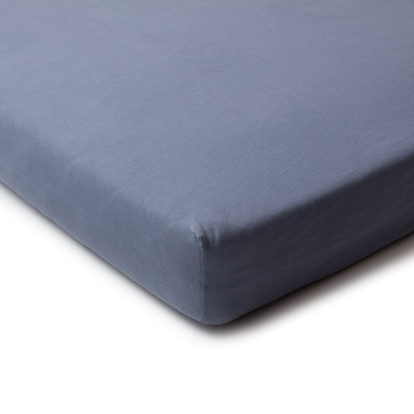 Fitted Crib Sheet - Solid Slate Blue
