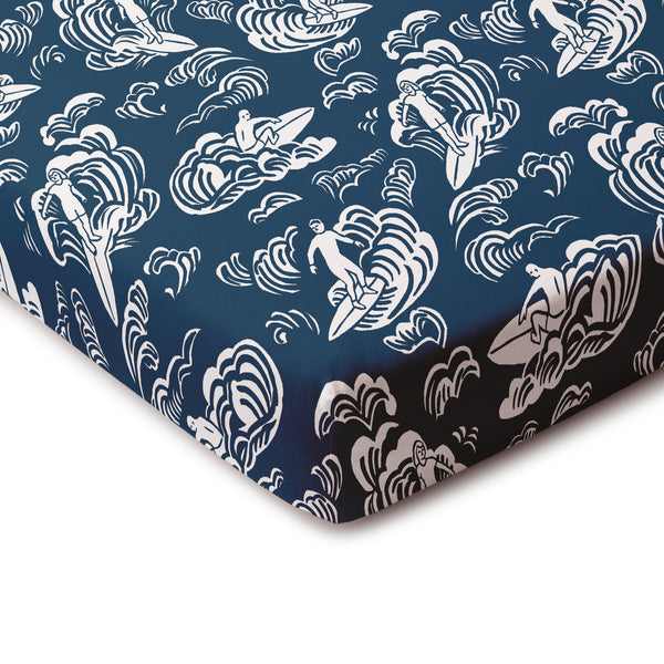 Fitted Crib Sheet - Surfers Navy