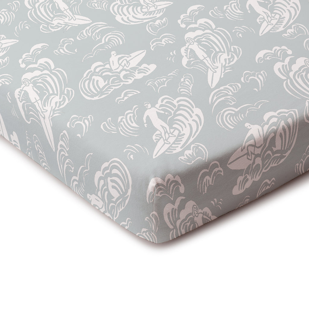Fitted Crib Sheet - Surfers Pale Blue