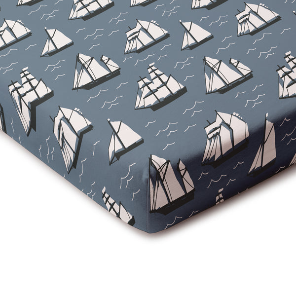 Fitted Crib Sheet - Vintage Sailboats Slate Blue & Black
