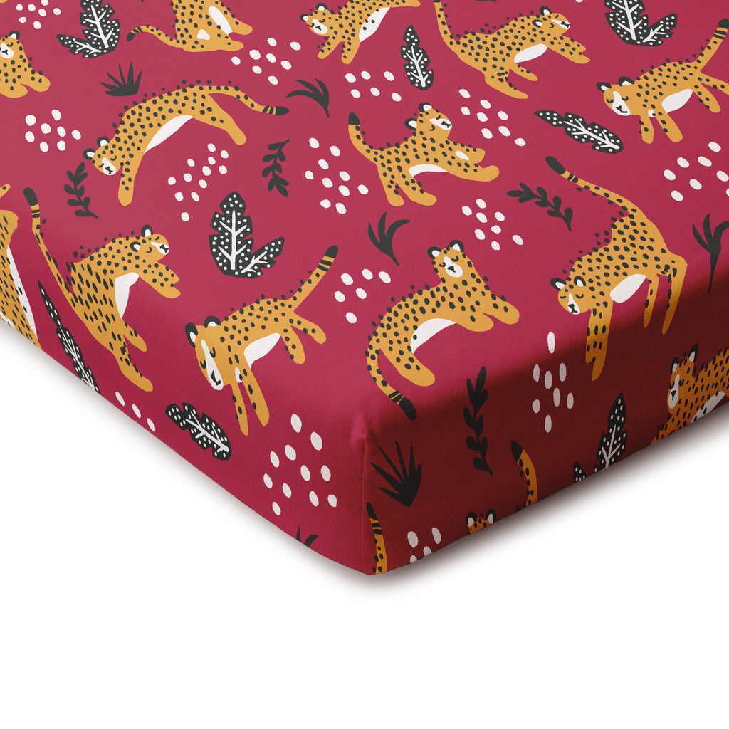 Fitted Crib Sheet - Wildcats Plum