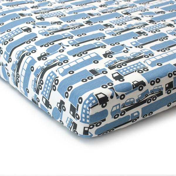 Fitted Crib Sheet - Big Rigs Blue