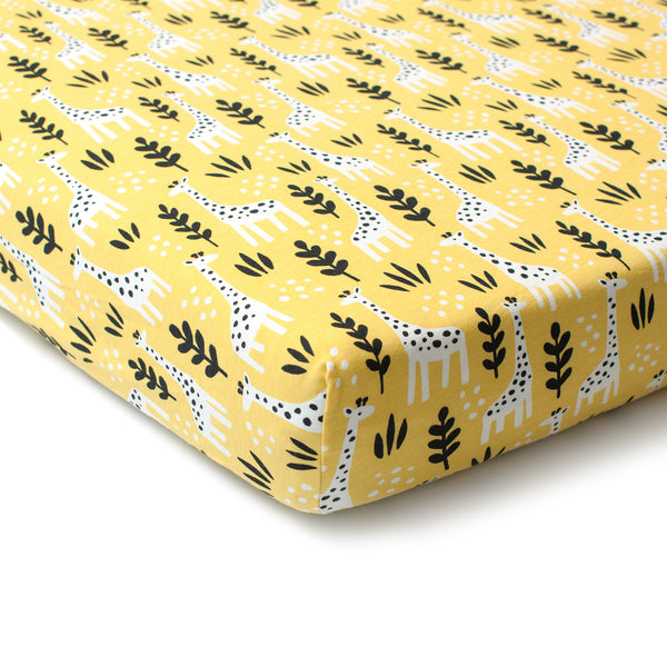 Fitted Crib Sheet - Giraffes Yellow