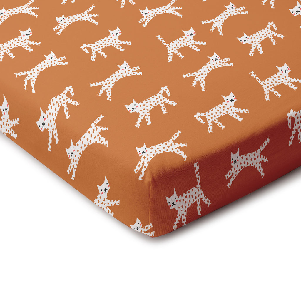 Fitted Crib Sheet - Cats Gold