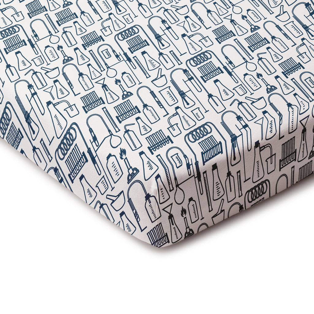 Fitted Crib Sheet - Chemistry Navy