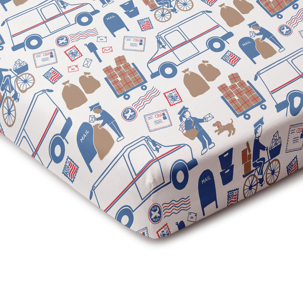 Fitted Crib Sheet - Postal Service Red & Blue