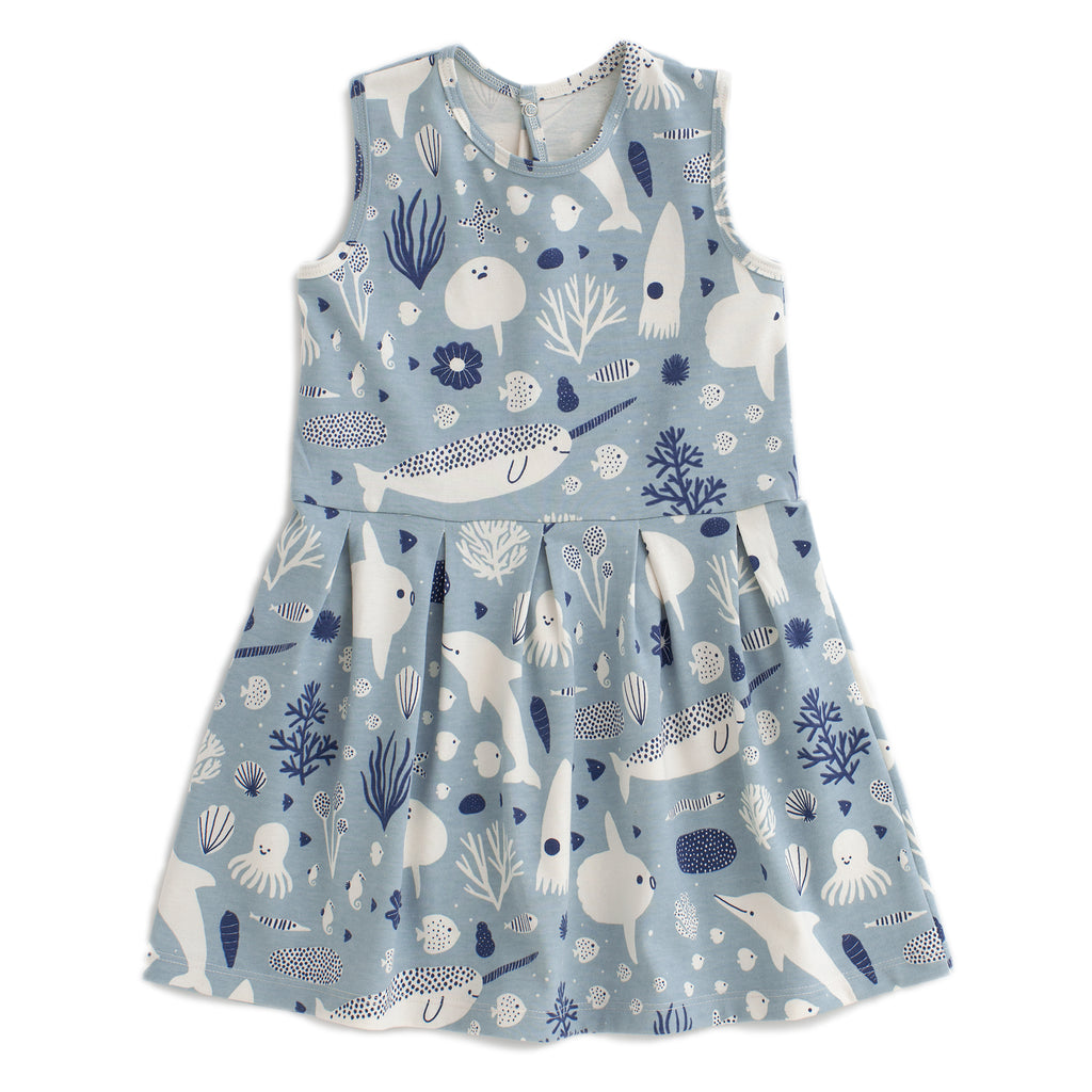 Essex Dress - Sea Creatures Pale Blue & Navy