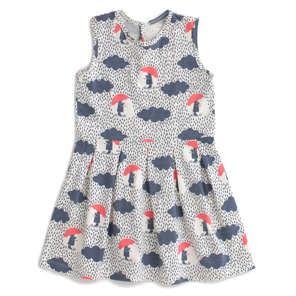 Essex Dress - Summer Rain Slate Blue & Coral
