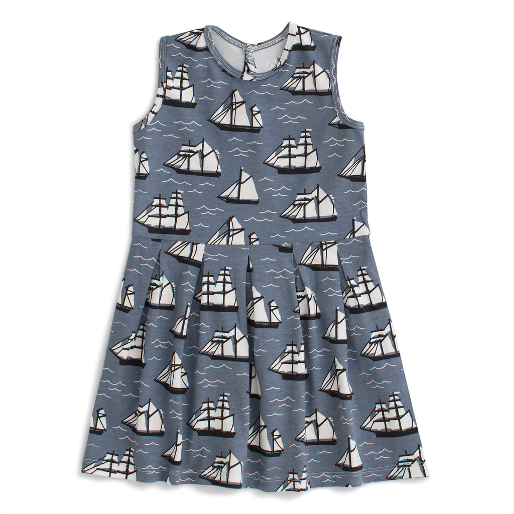 Essex Dress - Vintage Sailboats Slate Blue & Black