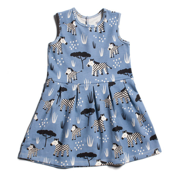 Essex Dress - Zebras Blue