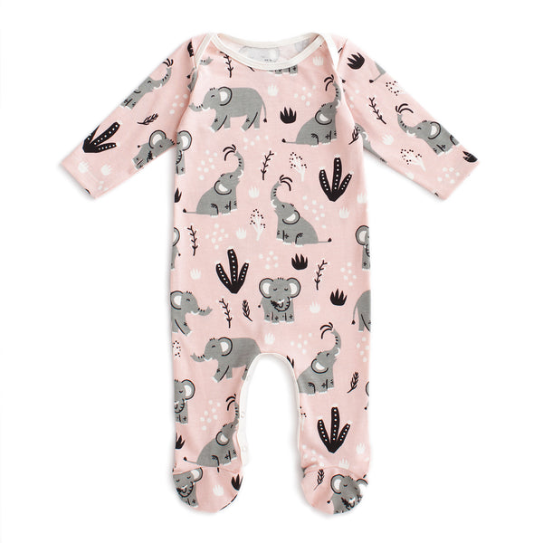 Footed Romper - Elephants Pink