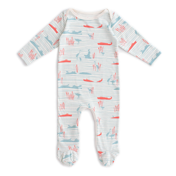Footed Romper - Hippos & Crocodiles Ocean Blue & Coral