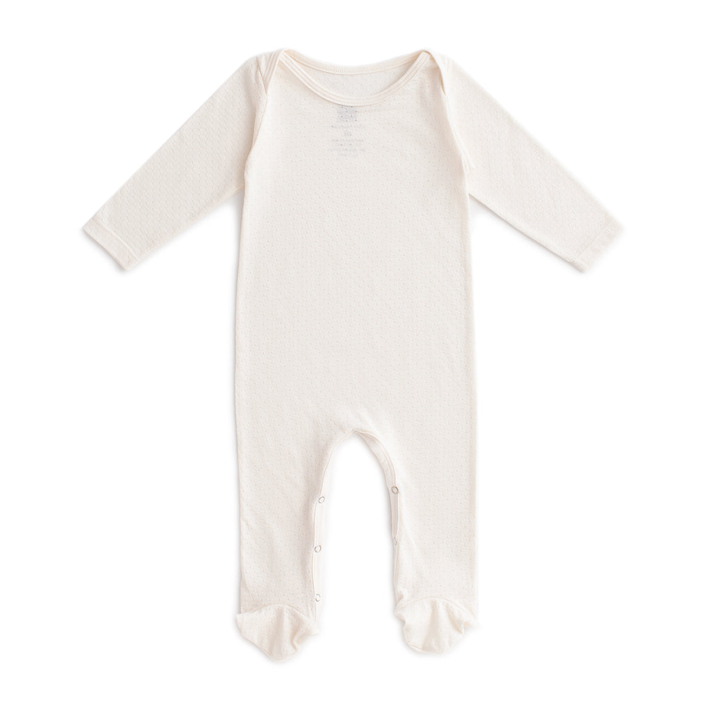 Footed Romper - Natural Pointelle