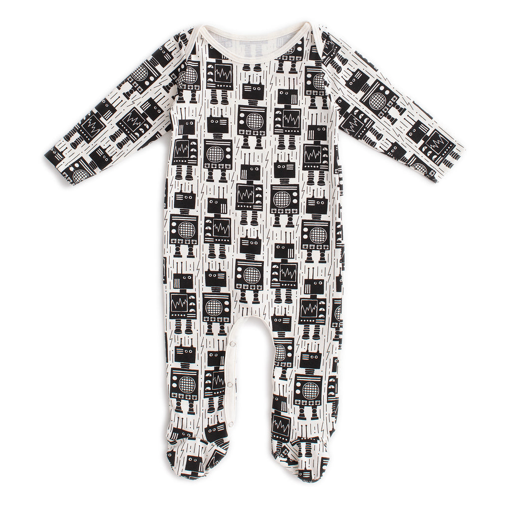 Footed Romper - Robots Black