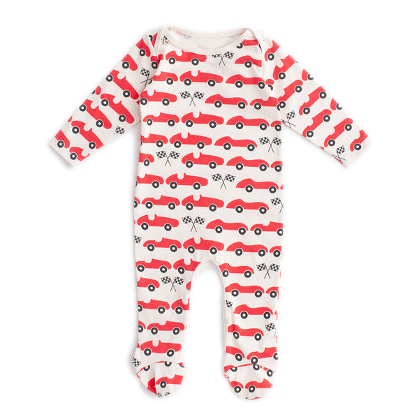Footed Romper - Race Cars Red