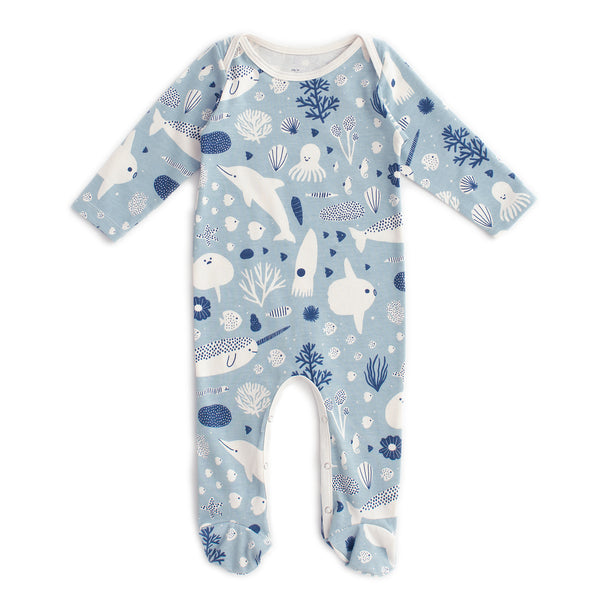Footed Romper - Sea Creatures Pale Blue & Navy