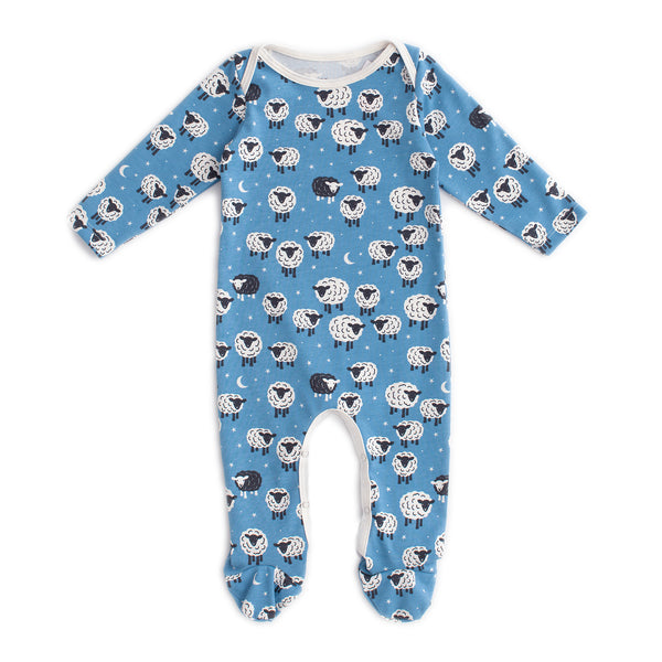 Footed Romper - Counting Sheep Blue