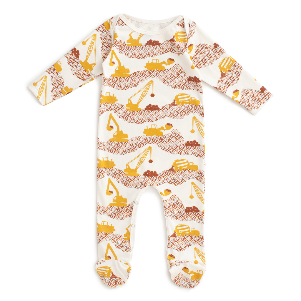 Footed Romper - Construction Yellow & Chestnut