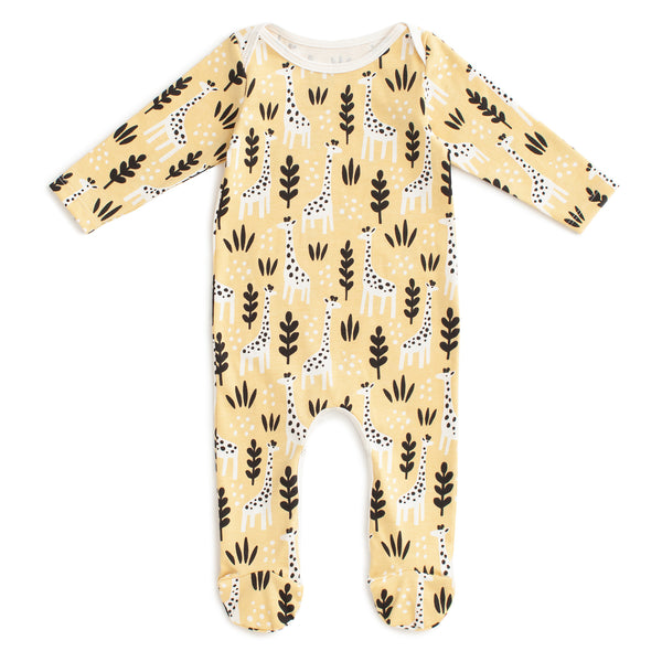 Footed Romper - Giraffes Pale Yellow
