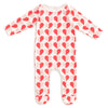Footed Romper - Hearts Red & Pink