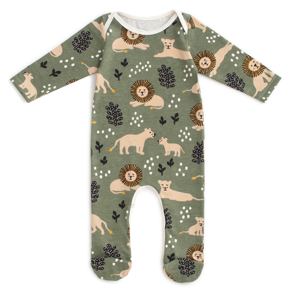 Footed Romper - Lions Forest Green