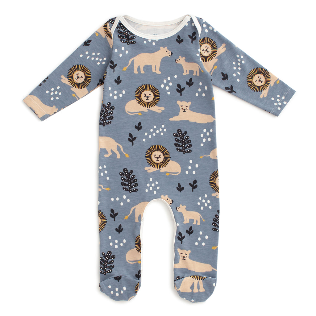 Footed Romper - Lions Slate Blue