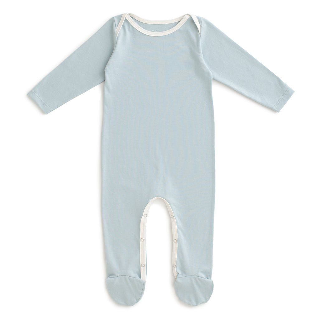 Footed Romper - Solid Pale Blue