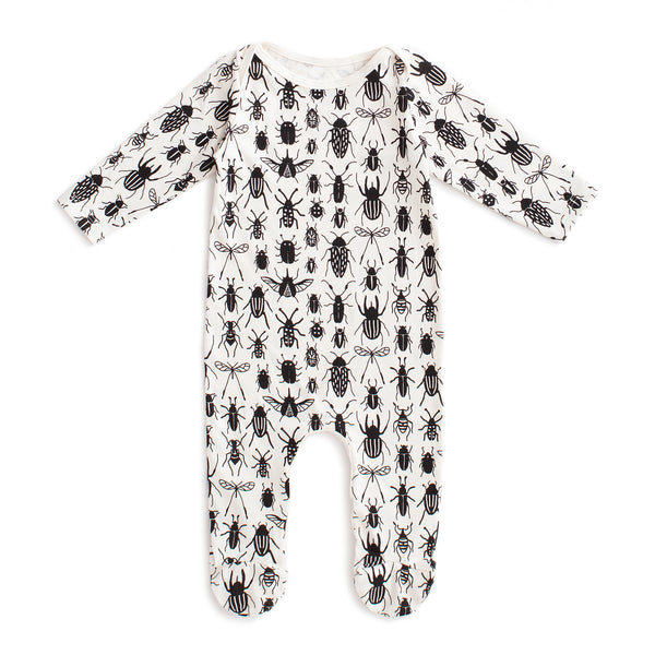 Footed Romper - Bug Collection Black