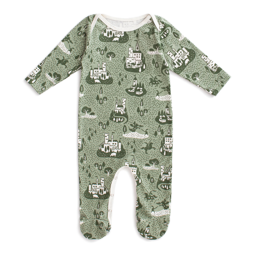 Footed Romper - Castles & Villages Sage & Forest Green