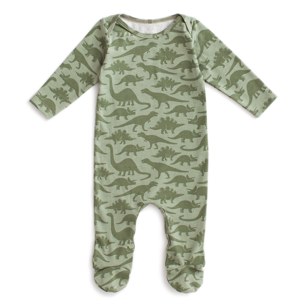 Footed Romper - Dinosaurs Sage