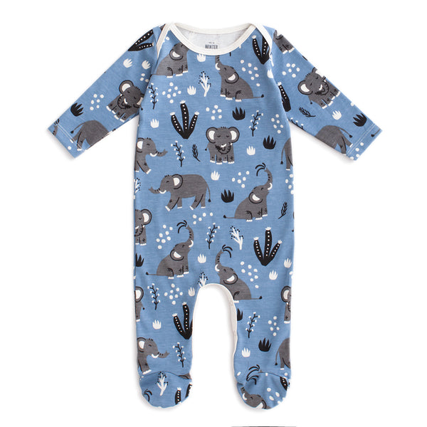 Footed Romper - Elephants Blue