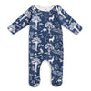 Footed Romper - In the Forest Navy