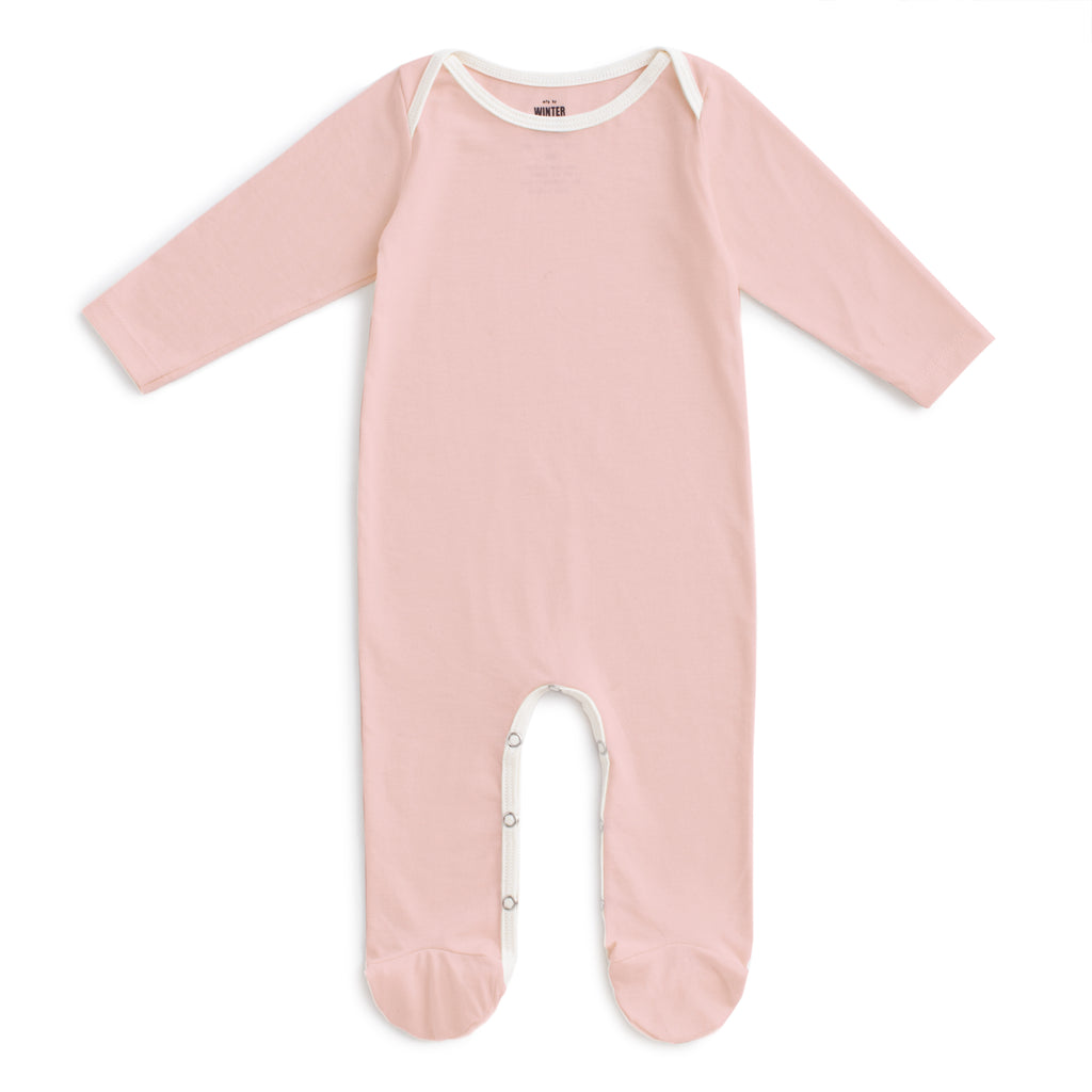 Footed Romper - Solid Pink