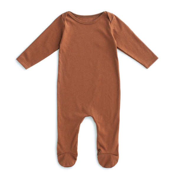 Footed Romper - Solid Chestnut