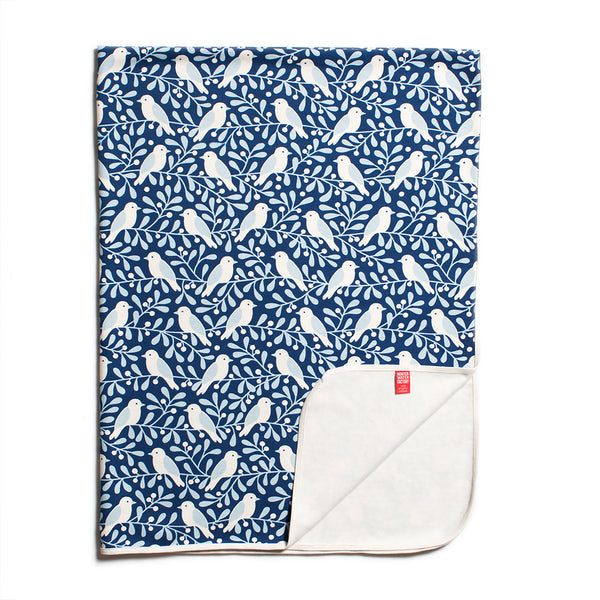 Organic Fleece Blanket - Birds & Berries Navy & Blue