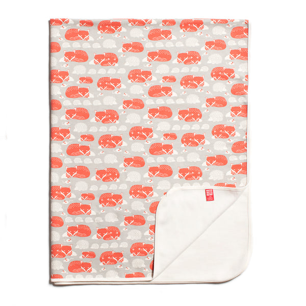 Organic Fleece Blanket - Foxes & Hedgehogs Grey & Orange