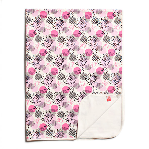 Organic Fleece Blanket - Modern Dots Pink