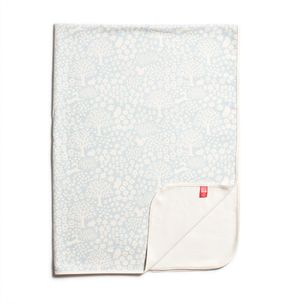 Organic Fleece Blanket - Woodland Pale Blue