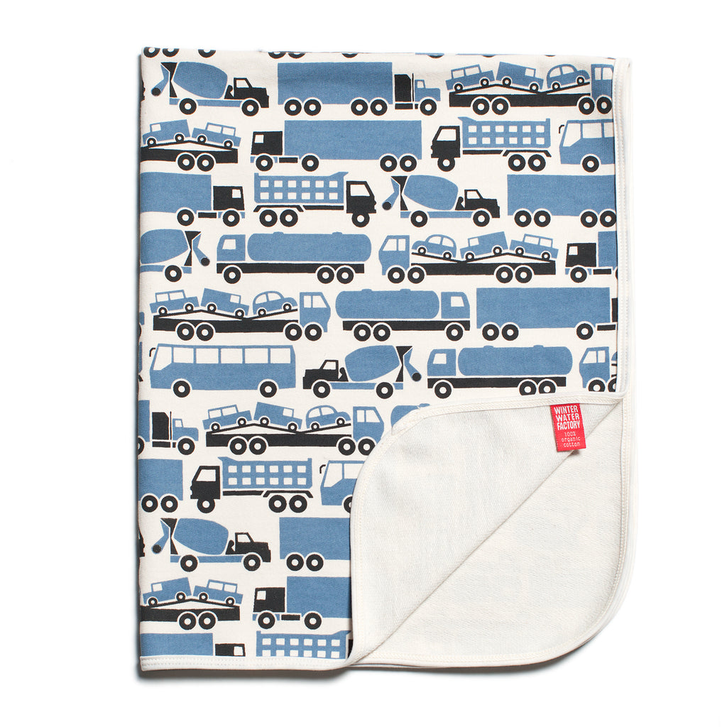 French Terry Blanket - Big Rigs Blue