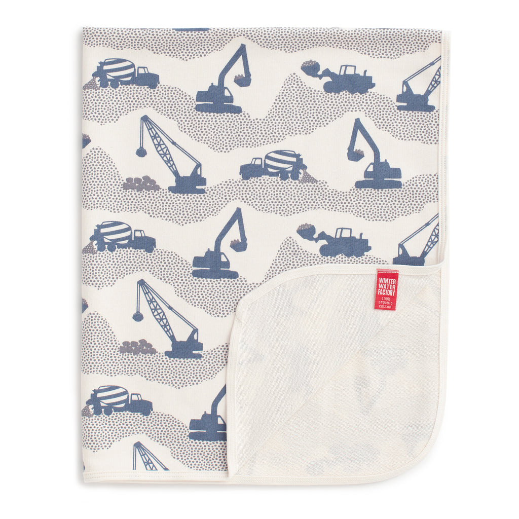 French Terry Blanket - Construction Slate Blue & Grey