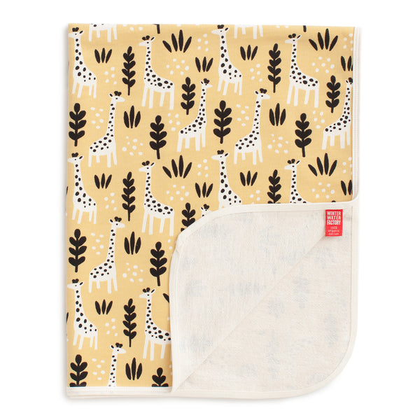 French Terry Blanket - Giraffes Pale Yellow