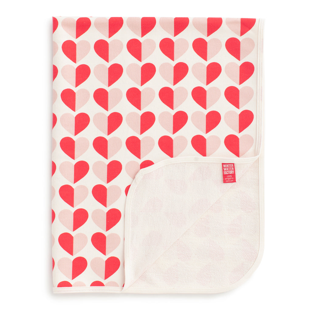 French Terry Blanket - Hearts Red & Pink