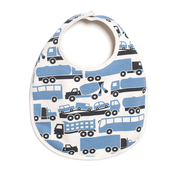 French Terry Bib - Big Rigs Blue