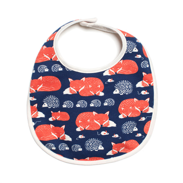 French Terry Bib - Foxes & Hedgehogs Navy & Orange