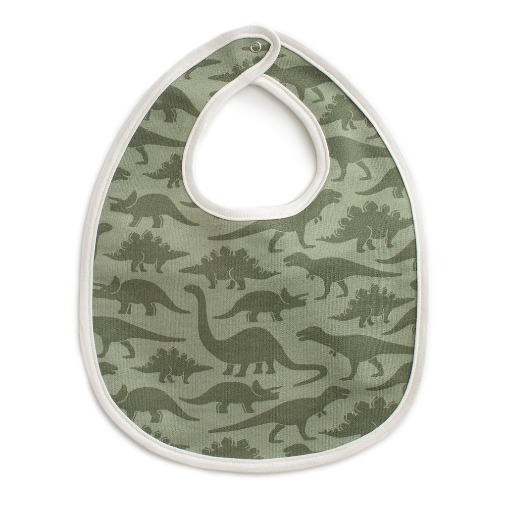 French Terry Bib - Dinosaurs Sage