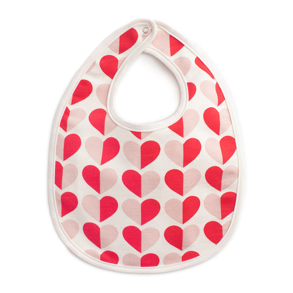 French Terry Bib - Hearts Red & Pink