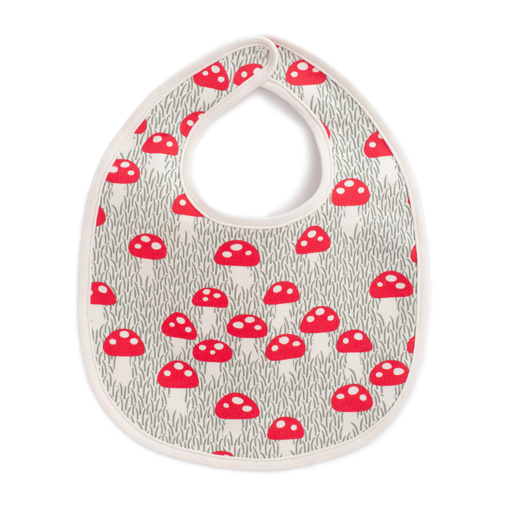 French Terry Bib - Mushrooms Sage